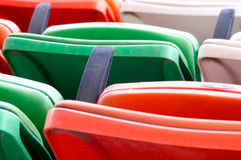 Folding plastic chairs at event venue Royalty Free Stock Photography