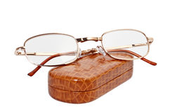 Folding reading glasses with case Stock Photography