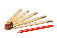 Free Folding Rule And A Pencil Royalty Free Stock Image - 17097396