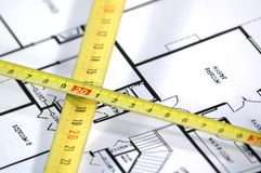Folding rule and architectural plan. House plans and folding rule , concept of home architecture Stock Photo
