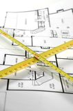 Folding rule and architectural plan Royalty Free Stock Image