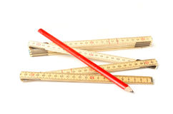 Folding ruler and carpenters pencil Stock Image
