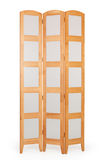 Folding screen on white. A one-of-a-kind folding screen in light oak composed of transparant squares Royalty Free Stock Photography