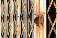 Folding steel doors old vintage style. Royalty Free Stock Photo
