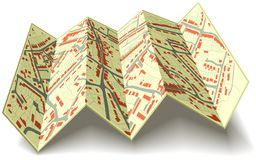 Folding street map Stock Images