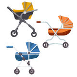 Folding stroller or newborn baby, infant carriage Stock Photos