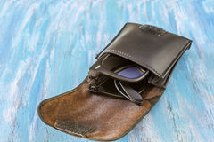 Folding Sunglasses. Folding Wayfarer sunglasses in a case on a colorful background Stock Photography