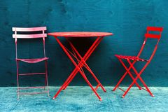 Folding table and folding chairs in downtown Edmonton Alberta. Canada royalty free stock photography