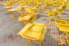 Folding tables and chairs. Royalty Free Stock Images