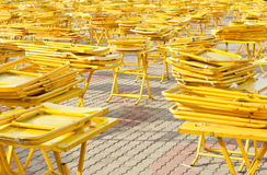 Folding tables and chairs. Royalty Free Stock Photos