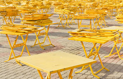 Folding tables and chairs. Royalty Free Stock Photography