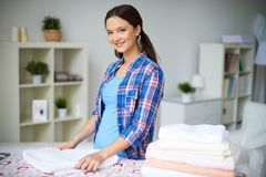 Folding towels Stock Images