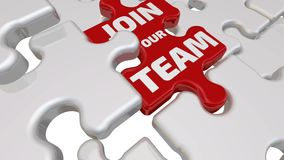 Join our team. The inscription on the red puzzle