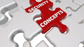 Security concepts. The inscription on the missing element of the puzzle. Folding white puzzles elements and one red with text SECURITY CONCEPTS. Footage video stock illustration