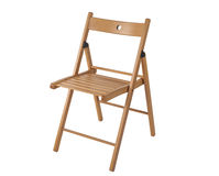Folding wooden chair isolated on white background Royalty Free Stock Image
