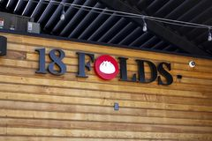 18 Folds restaurant sign stock photo