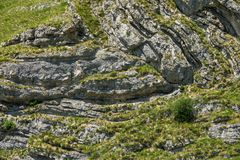 Folds of rock in mountains - background Royalty Free Stock Photos