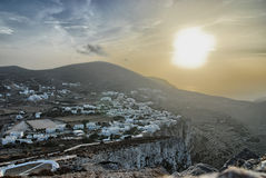 Folegandros, Chora from Aghia Palaghia walking Stock Photography
