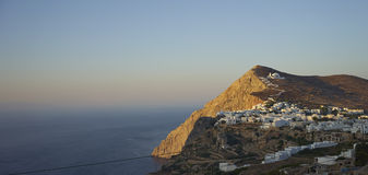 Folegandros at sunset Stock Photography