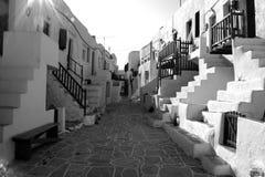 Folegandros town center. Black and white image Stock Photo