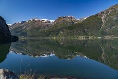 Folgefonna Gletscher und Hardangerfjord stockfoto