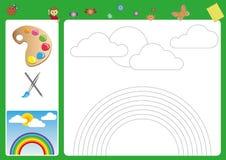 folgen Sie den Linien mit Ihrem Bleistift und Farbe, die Bleistiftsteuerung und Seiten für Kinder Arbeits, Arbeitsblatt für Kinde Lizenzfreie Stockbilder