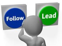 Folgen Sie der Führungs-Knopf-Show, welche die Weise oder das Folgen führt Stockfotos