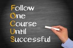 Folgen Sie einem Kurs, bis erfolgreich Stockbild
