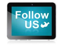 Folgen Sie uns auf Tablette Stockbilder
