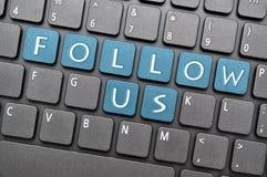 Folgen Sie uns auf Tastatur Stockfoto