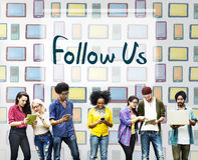 Folgen Sie uns Kommunikations-Verbindungs-Freund-Konzept Stockfotos