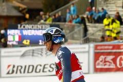 FOLGEN Sie Werner in FIS alpiner Ski World Cup - der SUPER-G der 3. MÄNNER auf den Fersen Stockbild