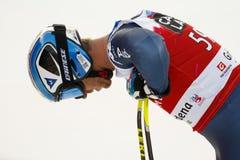 FOLGEN Sie Werner in FIS alpiner Ski World Cup - der SUPER-G der 3. MÄNNER auf den Fersen Lizenzfreies Stockbild