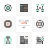 Folgende Ikonen Netzwerk-Infrastruktur Futuro lizenzfreie abbildung