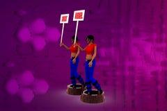 folgende waagerecht ausgerichtete Illustration der Frau 3D Stockfoto