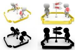 folgende waagerecht ausgerichtete Konzeptsammlungen des Mannes 3d mit Alpha- und Schattenkanal Stockbild