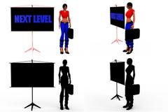 folgende waagerecht ausgerichtete Sammlungen Konzept der Frau 3d mit Alpha And Shadow Channel Stockfoto