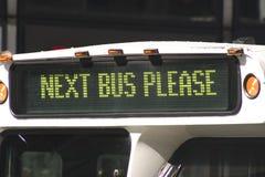 Folgender Bus bitte Stockbild