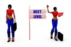 folgendes waagerecht ausgerichtetes Zeichenkonzept der Frau 3d Stockbild
