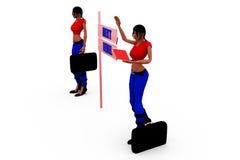folgendes waagerecht ausgerichtetes Zeichenkonzept der Frau 3d Lizenzfreie Stockfotos