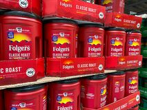 The Folgers Coffee  display waiting for customers to purchase at a Sams Club retail store