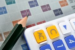 Folha, calculadora e lápis da contagem Fotografia de Stock