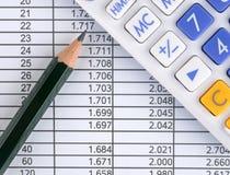 Folha, calculadora e lápis de dados Fotos de Stock