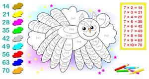 Folha com exercícios para crianças com multiplicação por sete Precise de resolver exemplos e pintar a coruja em cores relevantes Fotografia de Stock Royalty Free