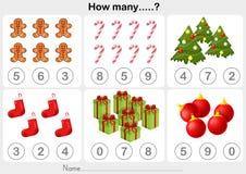 Folha da atividade do tema do Natal - contando o objeto para crianças Imagens de Stock Royalty Free