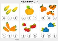 Folha da educação - contando o objeto para crianças Imagens de Stock Royalty Free