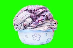 Folha da lavanderia em uma bacia isolada Imagens de Stock