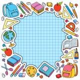 A folha da pilha de Bunner na gaiola com grupo de coisas diferentes da escola vector a maçã do saco Fotografia de Stock Royalty Free