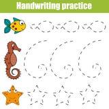 Folha da prática da escrita Jogo educacional das crianças, folha imprimível para crianças com formas Fotos de Stock Royalty Free