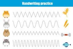 Folha da prática da escrita Jogo educacional das crianças, folha imprimível para crianças com linhas onduladas e animais Foto de Stock